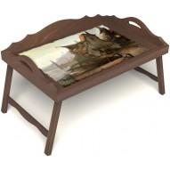 Столик для завтрака в постель «Рыбацкая деревенька» с 3-мя фигурными бортиками цвет орех