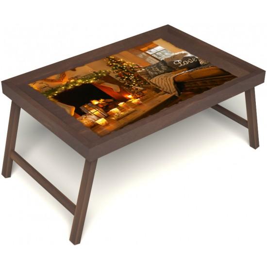 Столик для завтрака в постель «Русская берёза», «Канун Рождества» без ручек цвет орех