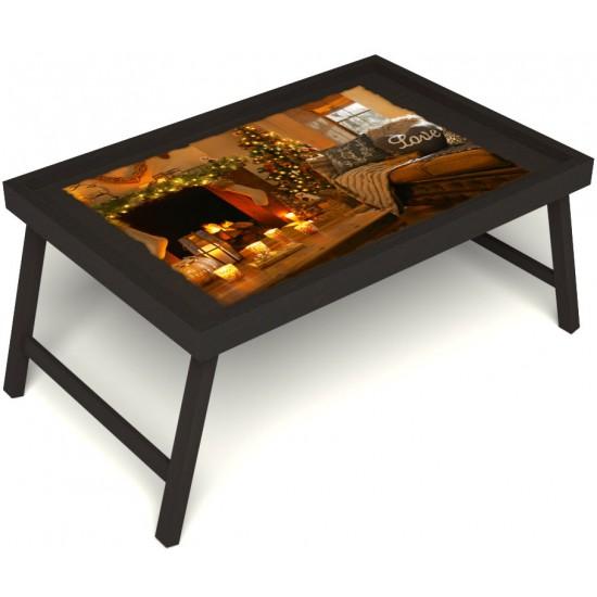 Столик для завтрака в постель «Русская берёза», «Канун Рождества» без ручек цвет венге