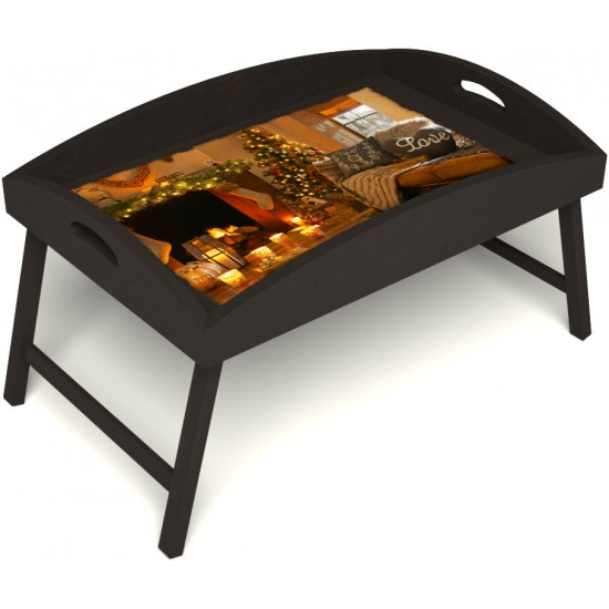Столик для завтрака в постель «Русская берёза», «Канун Рождества» с высоким бортиком цвет венге