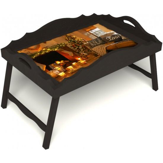 Столик для завтрака в постель «Русская берёза», «Канун Рождества» с фигурным бортиком цвет венге