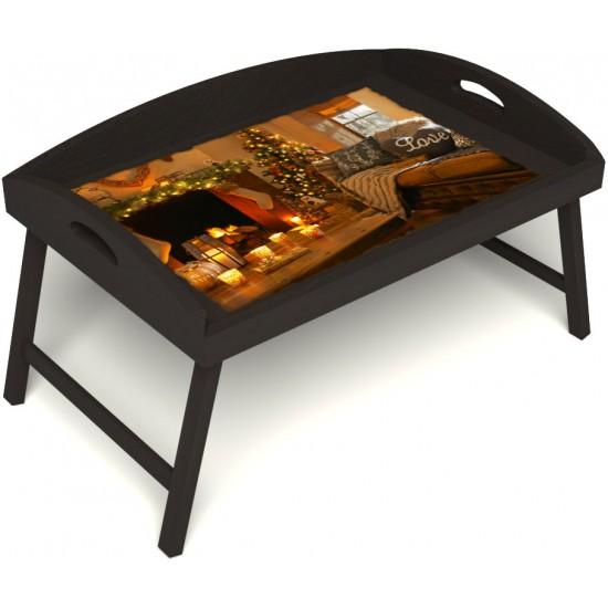 Столик для завтрака в постель «Русская берёза», «Канун Рождества» с 3-мя высокими бортиками цвет венге