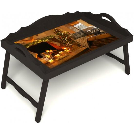 Столик для завтрака в постель «Русская берёза», «Канун Рождества» с 3-мя фигурными бортиками цвет венге