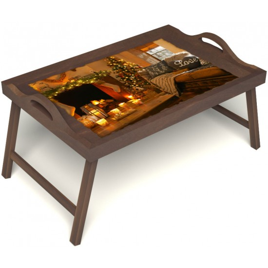Столик для завтрака в постель «Русская берёза», «Канун Рождества» с ручками цвет орех