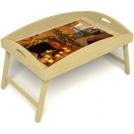 Столик для завтрака в постель «Русская берёза», «Канун Рождества» с высоким бортиком цвет светлый