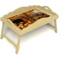 Столик для завтрака в постель «Русская берёза», «Канун Рождества» с фигурным бортиком цвет светлый