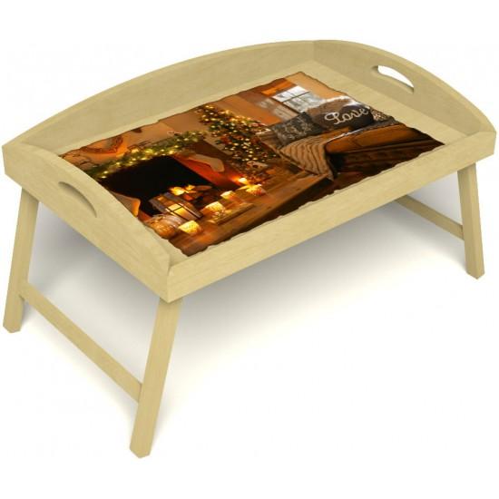 Столик для завтрака в постель «Русская берёза», «Канун Рождества» с 3-мя высокими бортиками цвет светлый