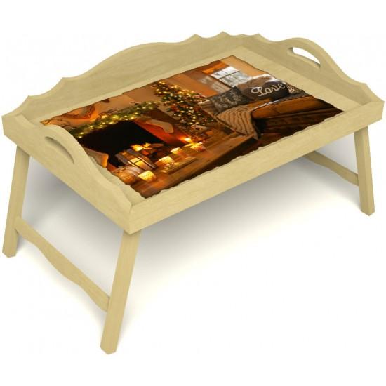 Столик для завтрака в постель «Русская берёза», «Канун Рождества» с 3-мя фигурными бортиками цвет светлый