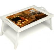 Столик для завтрака в постель «Русская берёза», «Канун Рождества» с ручками цвет белый