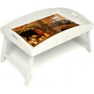 Столик для завтрака в постель «Русская берёза», «Канун Рождества» с высоким бортиком цвет белый