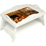 Столик для завтрака в постель «Русская берёза», «Канун Рождества» с фигурным бортиком цвет белый