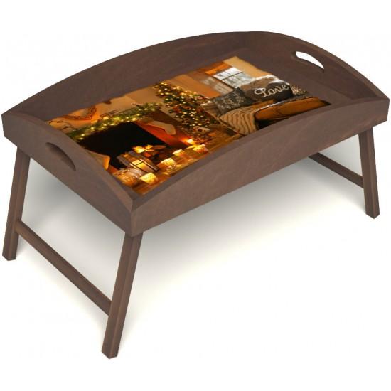 Столик для завтрака в постель «Русская берёза», «Канун Рождества» с высоким бортиком цвет орех