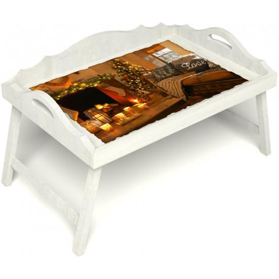 Столик для завтрака в постель «Русская берёза», «Канун Рождества» с 3-мя фигурными бортиками цвет белый
