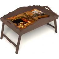 Столик для завтрака в постель «Русская берёза», «Канун Рождества» с фигурным бортиком цвет орех