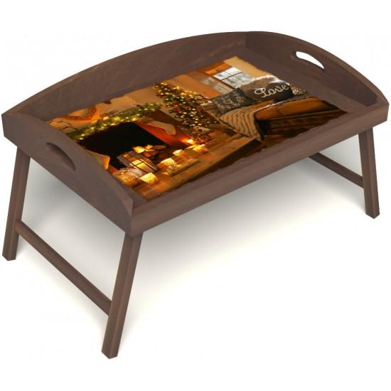 Столик для завтрака в постель «Русская берёза», «Канун Рождества» с 3-мя высокими бортиками цвет орех