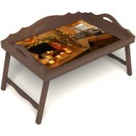 Столик для завтрака в постель «Русская берёза», «Канун Рождества» с 3-мя фигурными бортиками цвет орех