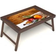 Столик для завтрака в постель «Русская берёза», «Праздник к нам приходит» без ручек цвет орех