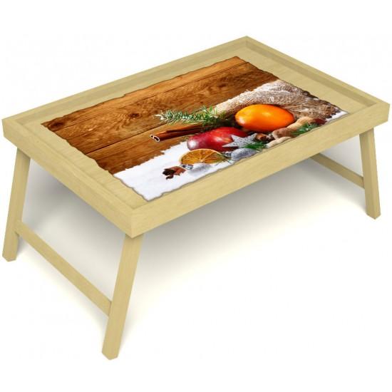Столик для завтрака в постель «Русская берёза», «Праздник к нам приходит» без ручек цвет светлый