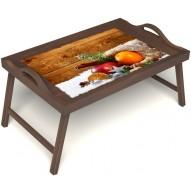Столик для завтрака в постель «Русская берёза», «Праздник к нам приходит» с ручками цвет орех