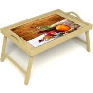Столик для завтрака в постель «Русская берёза», «Праздник к нам приходит» с ручками цвет светлый