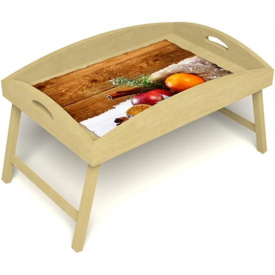 Столик для завтрака в постель «Русская берёза», «Праздник к нам приходит» с высоким бортиком цвет светлый