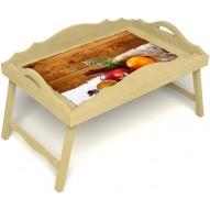 Столик для завтрака в постель «Русская берёза», «Праздник к нам приходит» с фигурным бортиком цвет светлый