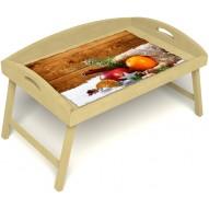 Столик для завтрака в постель «Русская берёза», «Праздник к нам приходит» с 3-мя высокими бортиками цвет светлый