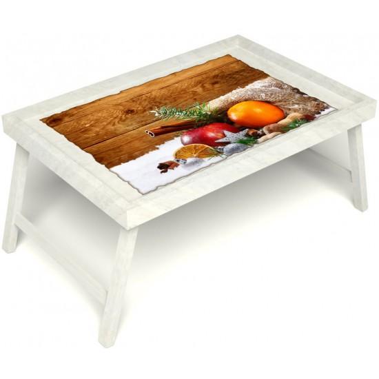 Столик для завтрака в постель «Русская берёза», «Праздник к нам приходит» без ручек цвет белый