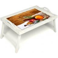 Столик для завтрака в постель «Праздник к нам приходит» с ручками цвет белый