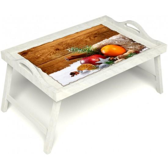 Столик для завтрака в постель «Русская берёза», «Праздник к нам приходит» с ручками цвет белый