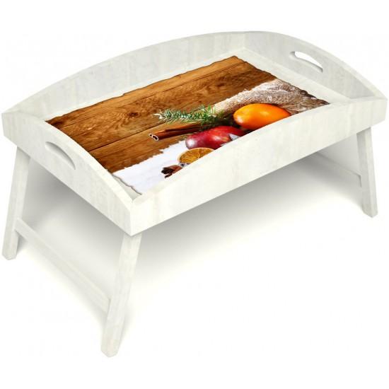 Столик для завтрака в постель «Русская берёза», «Праздник к нам приходит» с высоким бортиком цвет белый