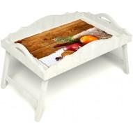 Столик для завтрака в постель «Русская берёза», «Праздник к нам приходит» с фигурным бортиком цвет белый