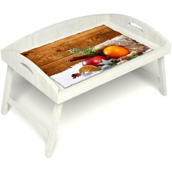 Столик для завтрака в постель «Русская берёза», «Праздник к нам приходит» с 3-мя высокими бортиками цвет белый