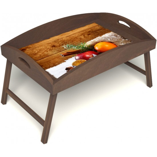 Столик для завтрака в постель «Русская берёза», «Праздник к нам приходит» с высоким бортиком цвет орех