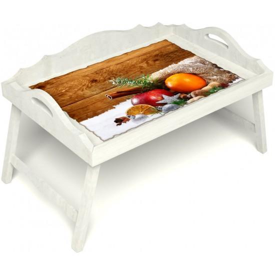 Столик для завтрака в постель «Русская берёза», «Праздник к нам приходит» с 3-мя фигурными бортиками цвет белый