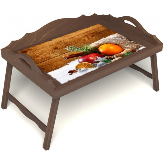 Столик для завтрака в постель «Русская берёза», «Праздник к нам приходит» с 3-мя фигурными бортиками цвет орех