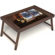 Столик для завтрака в постель «Зимний вечер» без ручек цвет орех