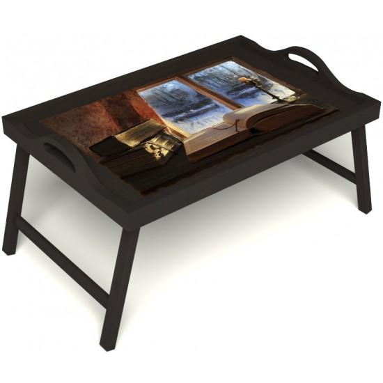 Столик для завтрака в постель «Русская берёза», «Зимний вечер» с ручками цвет венге