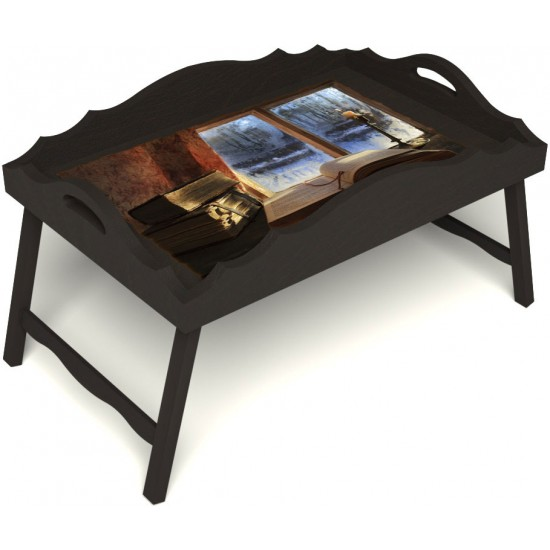 Столик для завтрака в постель «Русская берёза», «Зимний вечер» с фигурным бортиком цвет венге