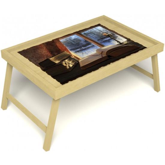 Столик для завтрака в постель «Русская берёза», «Зимний вечер» без ручек цвет светлый
