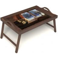 Столик для завтрака в постель «Зимний вечер» с ручками цвет орех