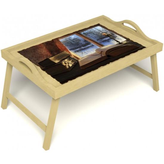 Столик для завтрака в постель «Русская берёза», «Зимний вечер» с ручками цвет светлый