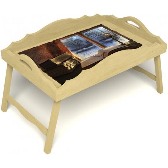 Столик для завтрака в постель «Русская берёза», «Зимний вечер» с фигурным бортиком цвет светлый