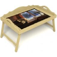 Столик для завтрака в постель «Русская берёза», «Зимний вечер» с 3-мя фигурными бортиками цвет светлый