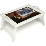 Столик для завтрака в постель «Зимний вечер» с ручками цвет белый