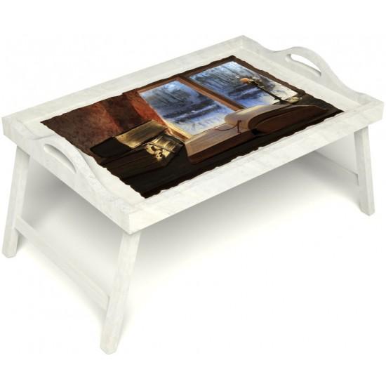 Столик для завтрака в постель «Русская берёза», «Зимний вечер» с ручками цвет белый