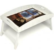 Столик для завтрака в постель «Русская берёза», «Зимний вечер» с высоким бортиком цвет белый