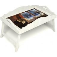 Столик для завтрака в постель «Русская берёза», «Зимний вечер» с фигурным бортиком цвет белый