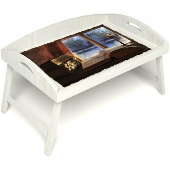 Столик для завтрака в постель «Русская берёза», «Зимний вечер» с 3-мя высокими бортиками цвет белый