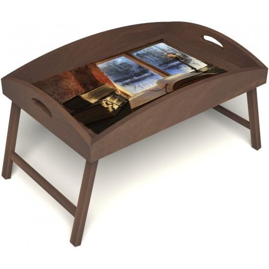 Столик для завтрака в постель «Русская берёза», «Зимний вечер» с высоким бортиком цвет орех